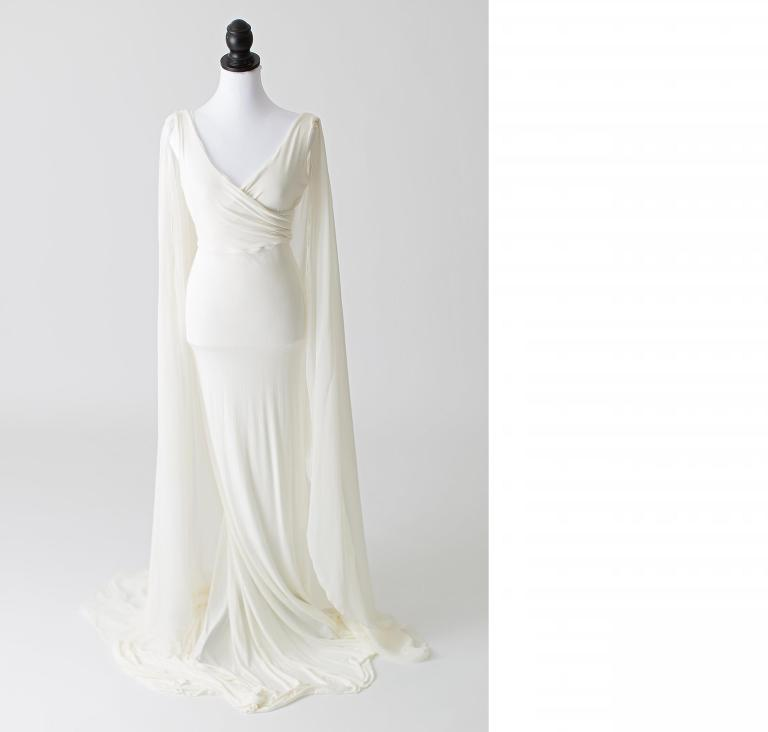 17081f27b8565 Size M   Fits XS-L. Miriam in White. Sew Trendy's Miriam gown is an empire  waist style maternity ...