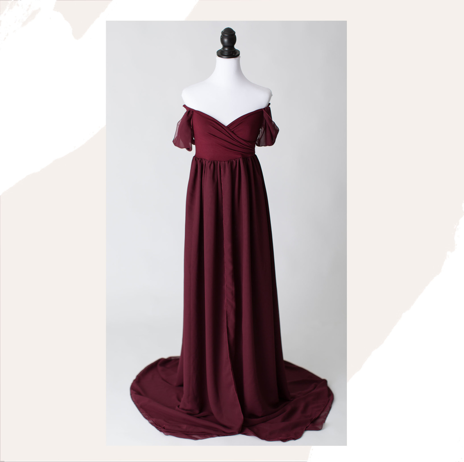 connecticut maternity gown burgundy